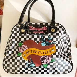 Betsey Johnson Betseyville Checkerboard Satchel